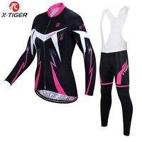 X Tiger Women Winter Thermal Fleece Cycling Jersey Set Super Warm Mountain Bicycle Cycling Sportswear Bike Cycling Clothing