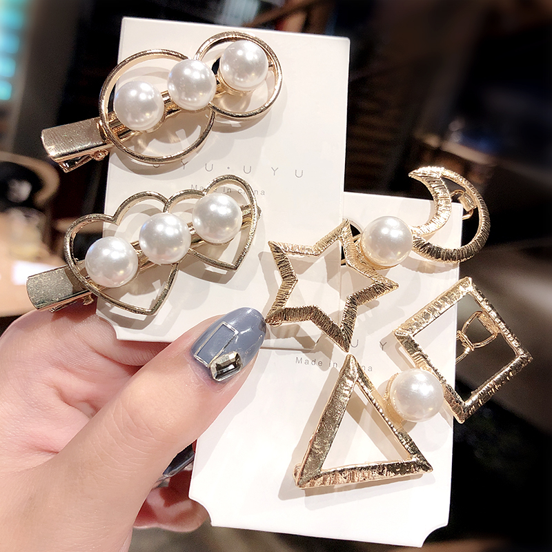 New Women Vintage Pearls Heart Geometric Alloy Hair Clips Lady Elegant Hairpins Barrettes Headband Fashion Hair Accessories