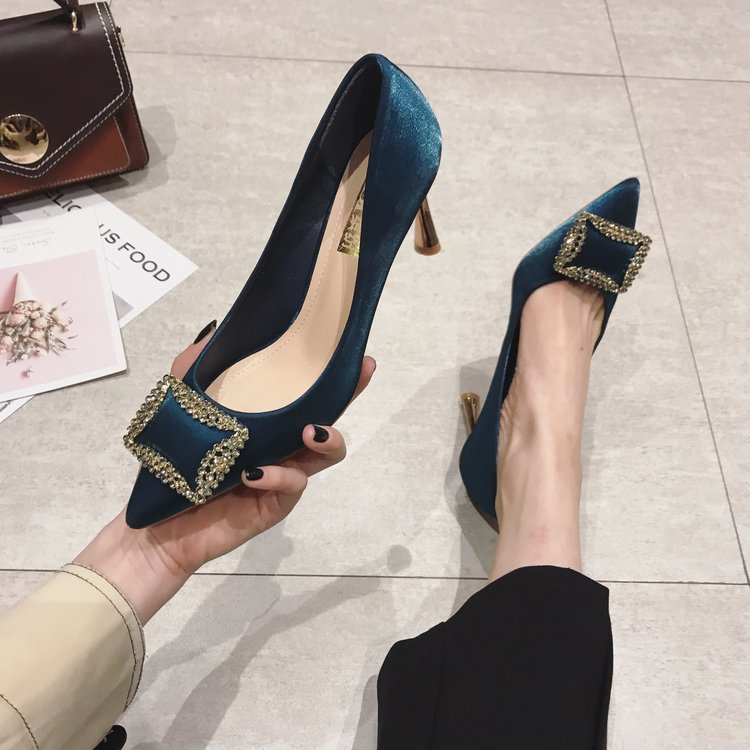 Temperament Elegant Womens Shoes Korean Square Buckle Rhinestones High Heels Stiletto Sexy Pointed Shallow Mouth Single Shoes
