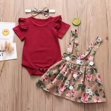 3 pçs infantil bebê meninas conjunto de roupas 2020 verão voar mangas macacão + saia suspender bandana roupas do bebê recém-nascido