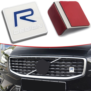 R DESIGN Grill Trunk Sticker For Volvo S40 S60 V40 V50 XC60 XC70 XC80 S90 C30 Letters Logo Badge Grille Nameplate Nameplate image