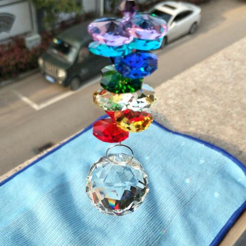 250mm Handmade Feng Shui Pendulum Suncatcher Glass Art Crystal Prisms Chandelier Hanging Rainbow Ornament Bling
