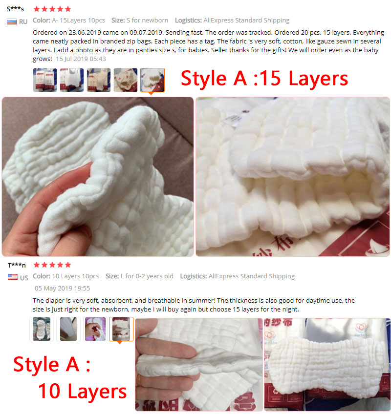 10Layers Cloth Cotton Baby Inserts Nappy Liners Diapers Reusable Washable  New.
