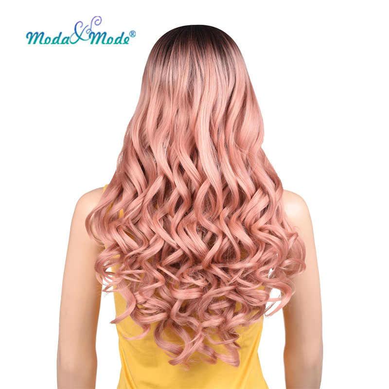 """Moda & Modus Pruik 28 """"Roze Pruik Diepe Golf Synthetische Lace Front Pruik Ombre Blonde Lace Pruik Middelste Deel voor Vrouwen"""