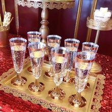 Высокое качество 150 мл пластиковые розовые золотые оправы Прозрачные Жесткие одноразовые вечерние стаканы для свадьбы Премиум Необычные бокалы для шампанского флейты