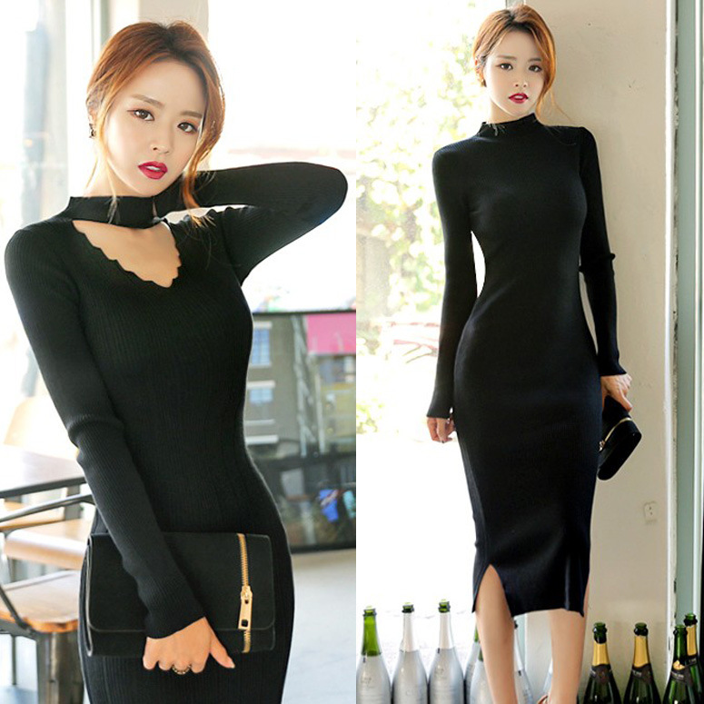 Sweater Knitted 2018 Autumn New Products Debutante WOMEN'S Dress Slim Fit Fashion V-neck Long Sleeve Sheath Double Purpose Dress