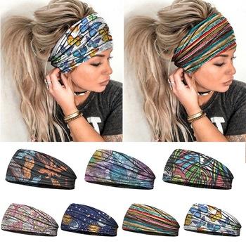 2020 artystyczne szerokie rozciągliwe opaski na głowę kobiety Headwrap Turban bandaż nakrycia głowy Hairbands Bandana szerokie opaski akcesoria do włosów tanie i dobre opinie WENYUJH CN (pochodzenie) POLIESTER WOMEN Cztery pory roku Adult Dekoracji CASUAL Women Headwear Drukuj moda Elastic Hair Accessories