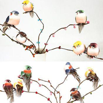 12 Pcs Artificial Foam Feather Simulation Bird Home Garden Wedding Decoration 72XF 12pcs 12 4 4cm 6colors mini decorative foam feather artificial craft birds with magnet bird christmas decoration home ornaments