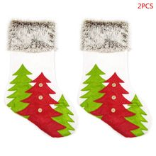 2x Christmas Socks Pendant Ornaments Cloth Small Boots Stockings Tree Print Gift Bag Party Home Decoration Supplies