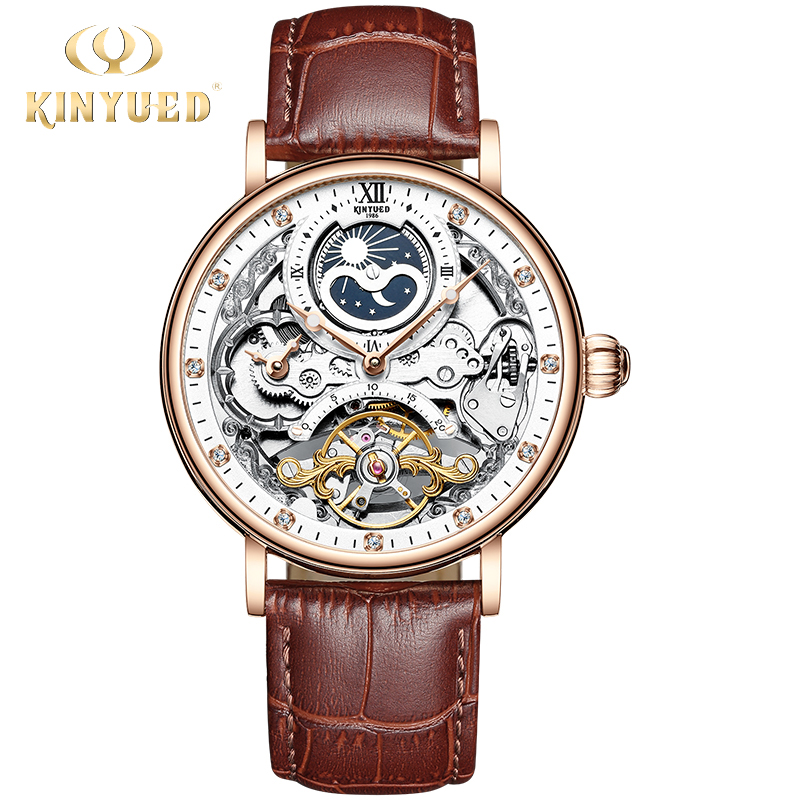 KINYUED Mechanical Automatic Mens Watches Tourbillon 2019 Luxury Top Brand Watch Men Clock Multiple Time Zone Relogio Masculino