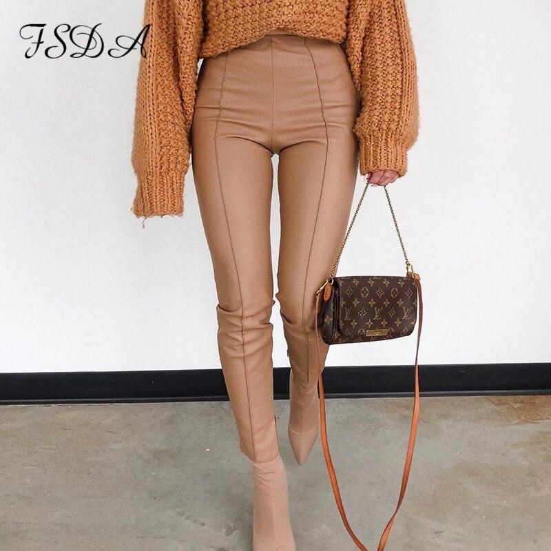 FSDA-pantalones de piel sintética con cremallera para mujer, pantalón informal, color caqui, Sexy, cintura alta, para otoño e invierno, 2021