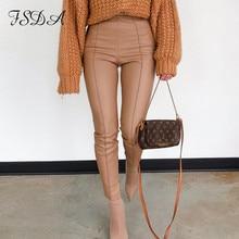 FSDA 2021 Fashion PU Leather Pants Khaki Women Casual Zip Up Pencil Trouser Sexy Autumn Winter Ladies High Waist Pant Design