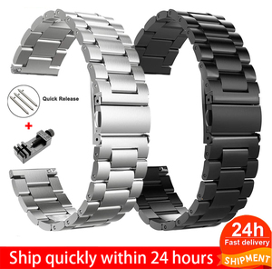 18mm 22mm 20mm 24mm Band For SAMSUNG Galaxy Watch 42 46mm galaxy watch 3 45mm 41mm Stainless Steel For Amazfit Bip GTR straps(China)