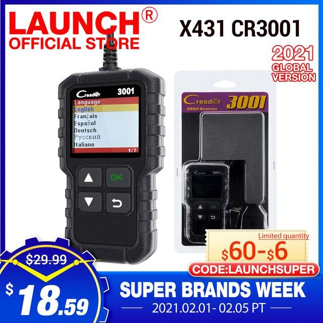 Запуск полный OBD2 Code Reader Сканер Creader 3001 OBDII/EOBD автомобиля диагностический инструмент в русский CR3001 pk AL319 AL519 OM123