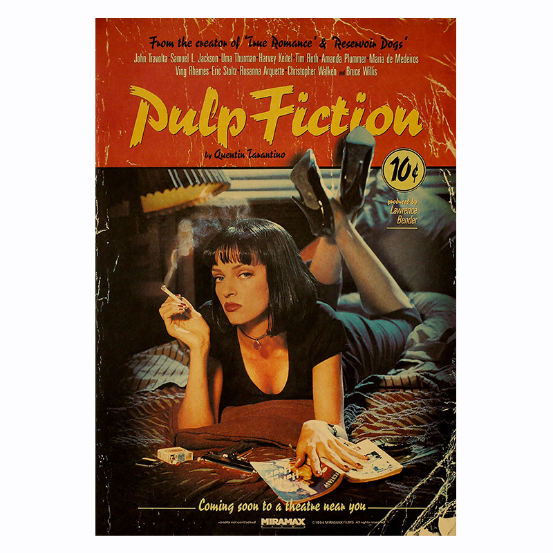 Movie Pulp Fiction Poster Retro Kraft Paper Poster Bar Room Decoration Painting Art Wall Sticker Picture