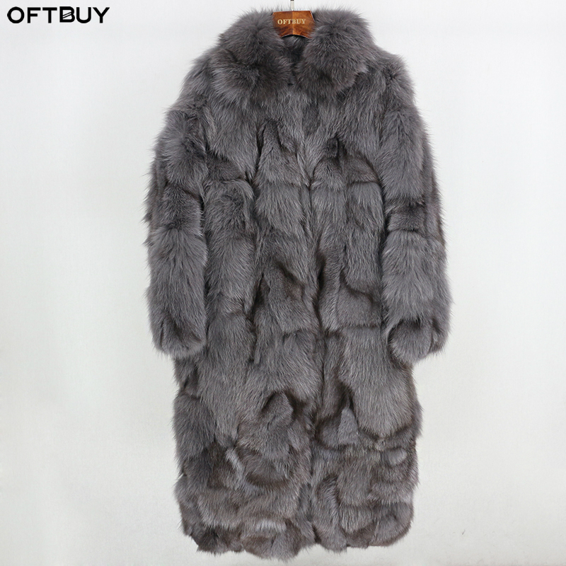 OFTBUY Brand 2019 Real Natural Fox Fur Coat Winter Jacket Women Long Outerwear New Fashion Casual Thick Warm Streetwear Luxury