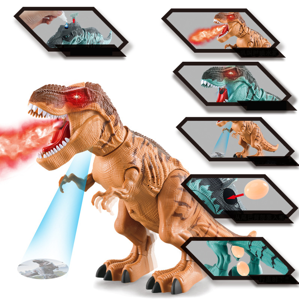 Electric Kids Children Toy Walking Dinosaur Figure Toy With Light Sound Lay Egg