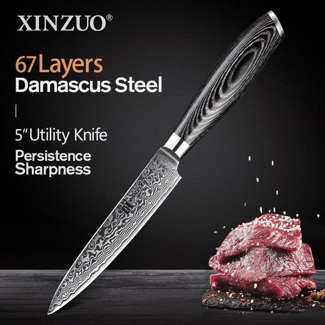 """XINZUO couteau utilitaire 5 """"pouces, couteaux de cuisine 67 couches, couteau de cuisine japonais en acier, damas très tranchant avec manche en Pakkawood"""