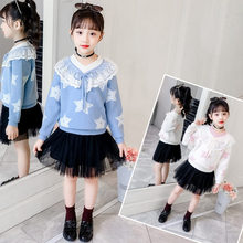 New Fashion Kids Crochet Collar Lace Up Sweater For Girls Baby Star Print Teenager Knitwear Age 15 Years to 5