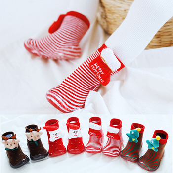 Christmas Baby Socks With Rubber Soles  Baby Girls Boys Autumn Winter First Walkers Children Floor Socks Shoes Anti Slip Soft
