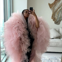 New Arrival Middle Length Women Puffy Ruffles Tulle Tops Real Image Gray Women Cape Pink Trendy 2020 Tops Female Clothing Custom