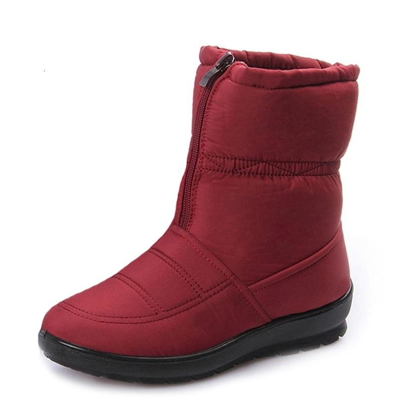 Mid kalb stiefel winter wasserdicht nicht slip plüsch schnee stiefel frauen zipper warme baumwolle schuhe frauen stiefel große größe 35 42-in Wadenhohe Stiefel aus Schuhe bei AliExpress - 11.11_Doppel-11Tag der Singles 1