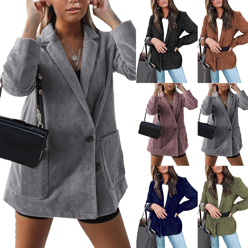 Office Lady Solid Color Long Sleeve Pocket Business Blazer Jacket Coat Slim Suit Solid Color with Pockets Ribbed Design Blazers