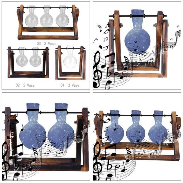 Frame Glass Vase Tabletop Terrarium Hydroponics Plant Vases Bonsai Transparent Flower Pot with Wooden Tray Home Decor 5