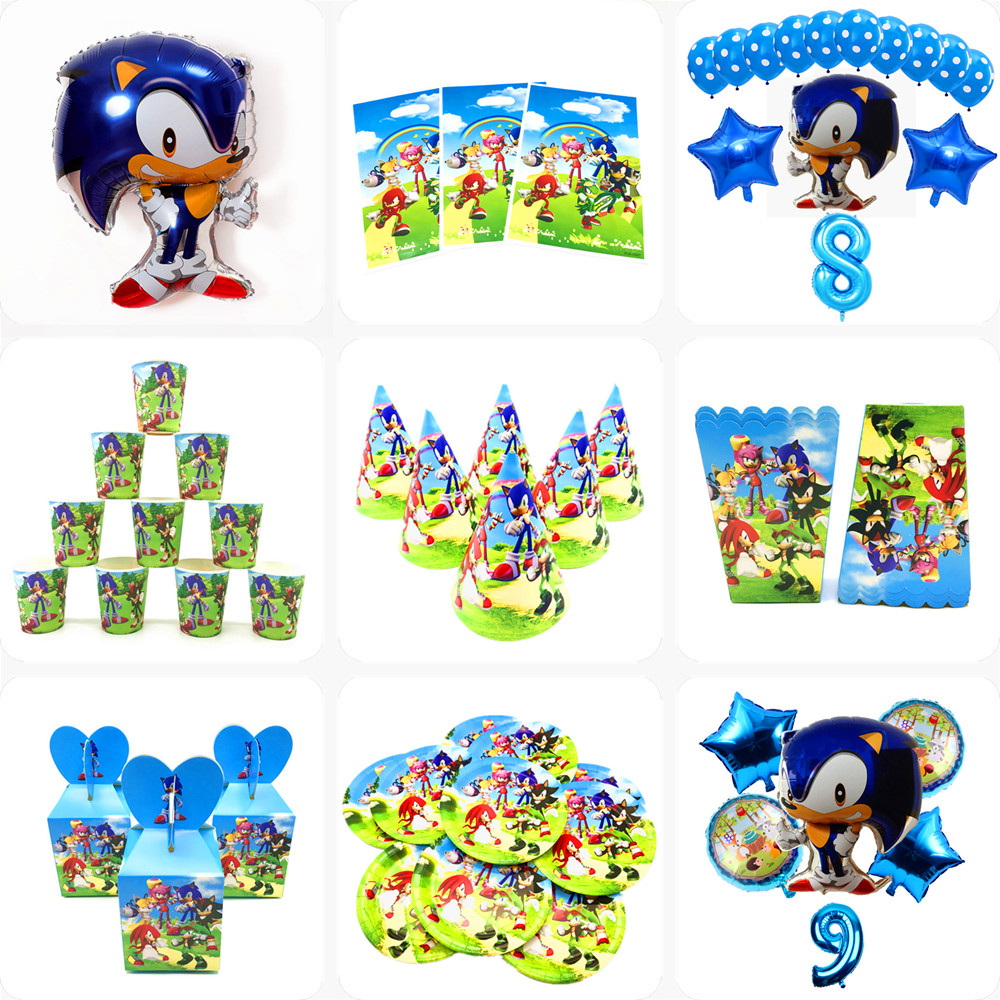 Hot Sonic The Hedgehog Super Hero Birthday Party Decorations Kids Disposable Tableware Baby Shower Birthday Party Decor Supplies