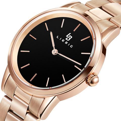 Rosa de Ouro Relógio de Quartzo Relógio de Pulso Masculino Moda Senhoras Casal Alta Qualidade Aço Inoxidável Relógio Feminino L2009