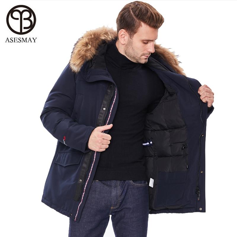 2019 nueva chaqueta de invierno para hombre, abrigos con capucha y cuello de piel, Parka para hombre, chaquetas gruesas, abrigadas, a prueba de viento, prendas de vestir exteriores informales - 2