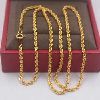 Pure 18k Yellow Gold Chain Unisex Luck 2mmW Rope Link Chain Necklace 18inches 2.61g 1