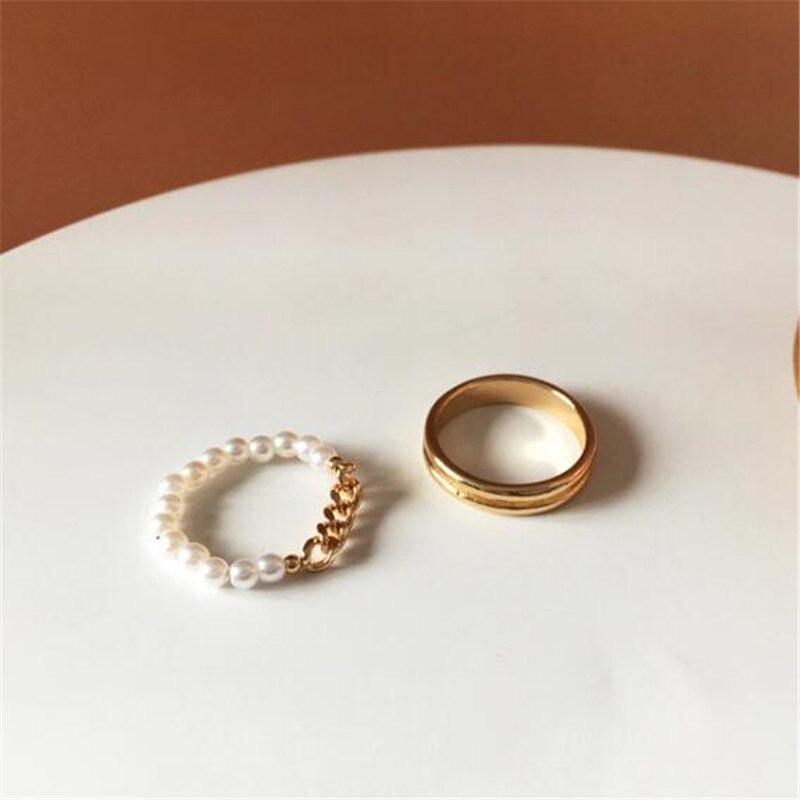Простота металлической искусственный жемчуг 2 шт./компл. указательный палец кольцо корейский Стиль модные женские аксессуары вечерние элегантные женские ювелирные изделия