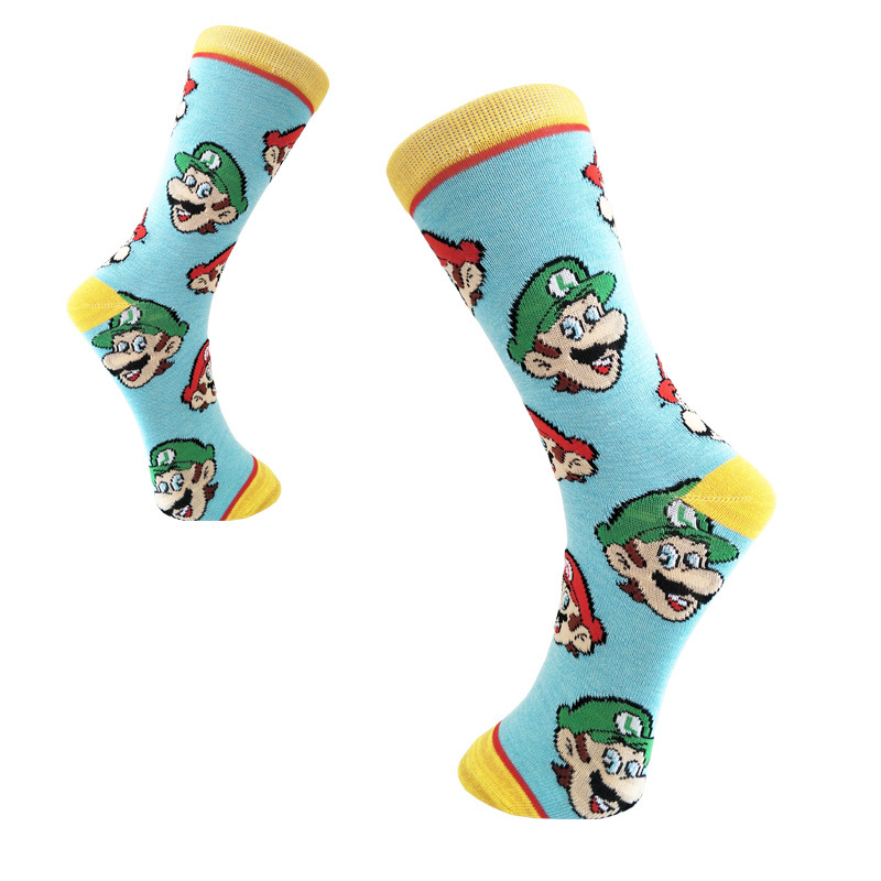 Game Super Mario Bros Print Socks Luigi Men Cotton Sock Sporting Casual Cute Fun Cartoon Breathable Absorb Sweat Soft Comfort