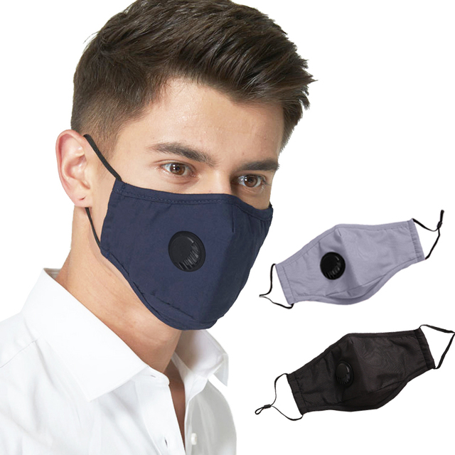 Kpop High Quality Casual Maska Maseczka Ochronna Anti PM2.5 Dark Blue Solid Reusable Masks Bacteria Proof Flu Anti-dust Masque 2