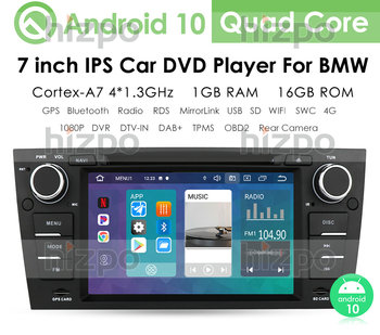 Android 10 1G 16G Car DVD Player For BMW 3 Series E90/E91/E92/E93 GPS stereo navigation multimedia screen head unit dvd image