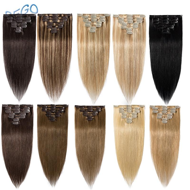 Прямые накладные человеческие волосы SEGO, 15-22 дюйма, 65-75 г, 7 шт./компл., натуральные бразильские волосы без повреждений