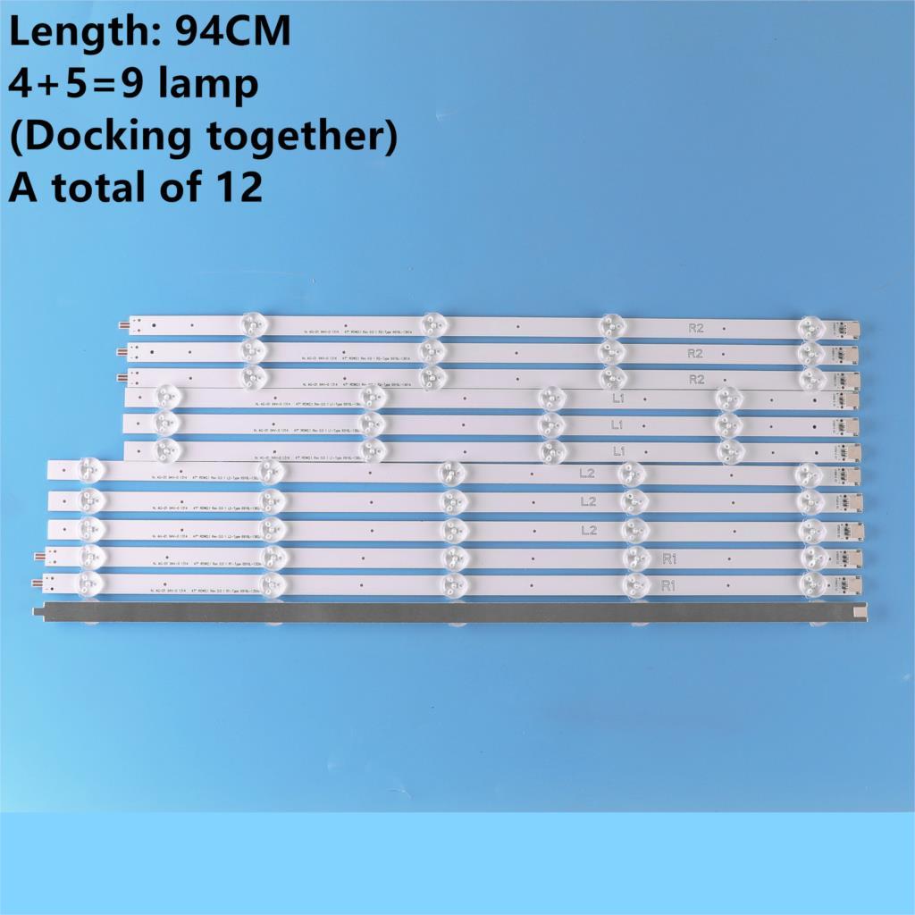 12 PCS For LG 47LE5500 47E5ERS LED Strips 6916L-1174A(R1),6916L-1175A(R2),6916L-1176A(L1),6916L-1177A(L2)