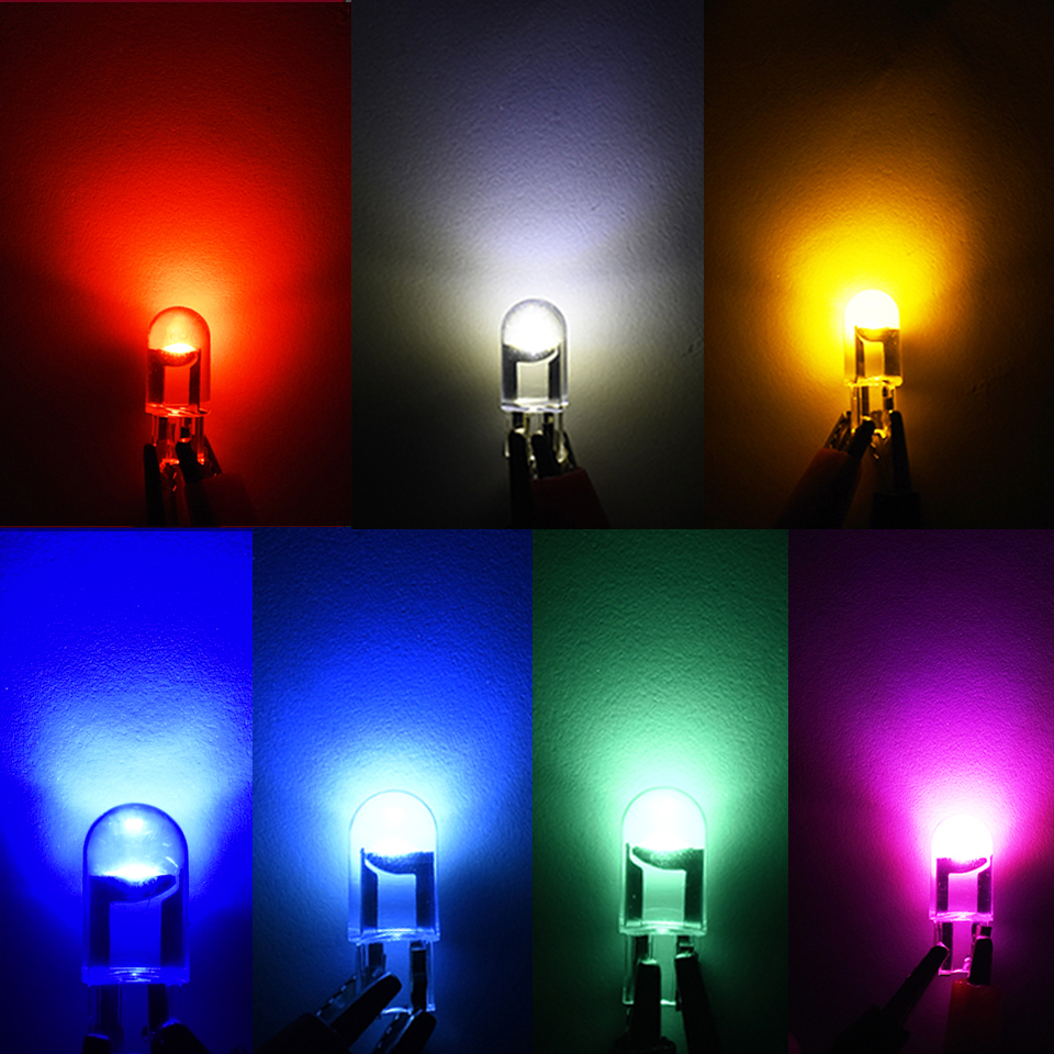 10x 2021 Newest W5W Led T10 Car Light COB Glass 6000K White Auto Automobiles License Plate Lamp Dome Read DRL Bulb Style 12V 5