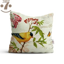 Lovely Vintage Pastoral Flower Sparrows Printing Pattern Polyester 45x45cm Square Home Decorative Pillow Cover