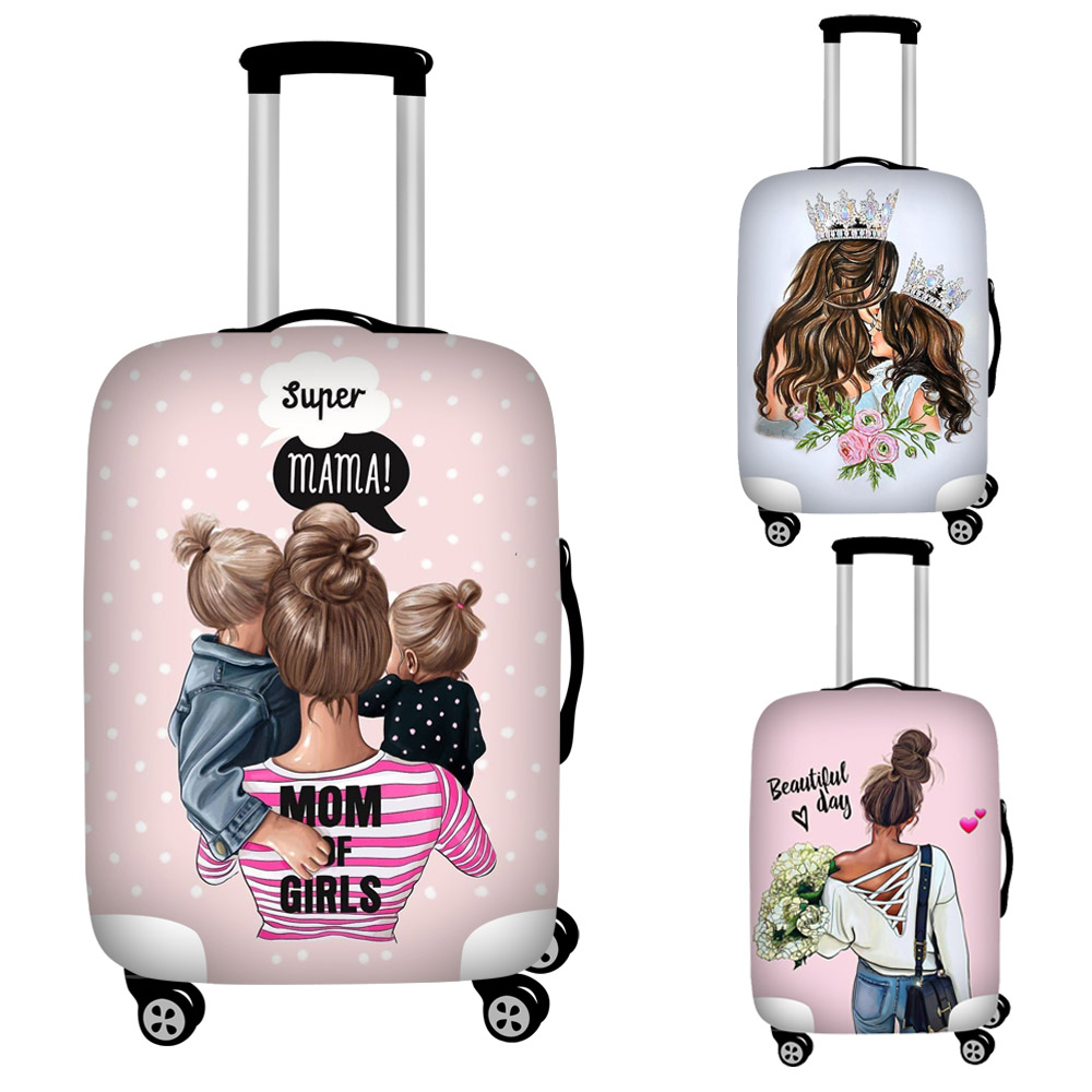 Cartoon Girls Super Mom Print Luggage Cover Travel Accessories Trolley Case Baggage Protective Covers Anti-dust Suitcase Covers