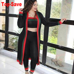 Large Size 3XL 3 Piece Set Women Winter Long Sleeve Three Pieces Sets For Female Long Coat Pants Tops Women's Suits 3 Piece Set