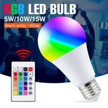 Bombilla LED RGB E27, Bombilla RGBW, lámpara LED de cambio de Color, 5W, 10W, 15W, luz remota regulable, luces de decoración de fiestas festivas RGBWW