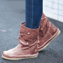 2019 Women Boots Fashion Ladies Shoes Faux Suede  Rivet Ankle Flat Heel Snow For Femme Size Plus