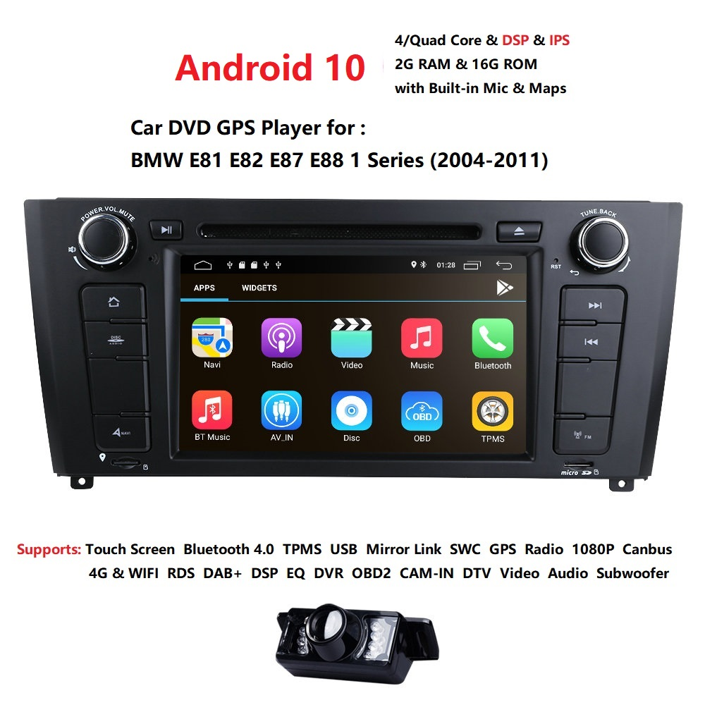71 Din Android 10 Quad Core Car Radio GPS Navi Car DVD Player For BMW 1 Serie E81 E82 E87 E88 I20 2004-2011 Head Unit BT Wifi image