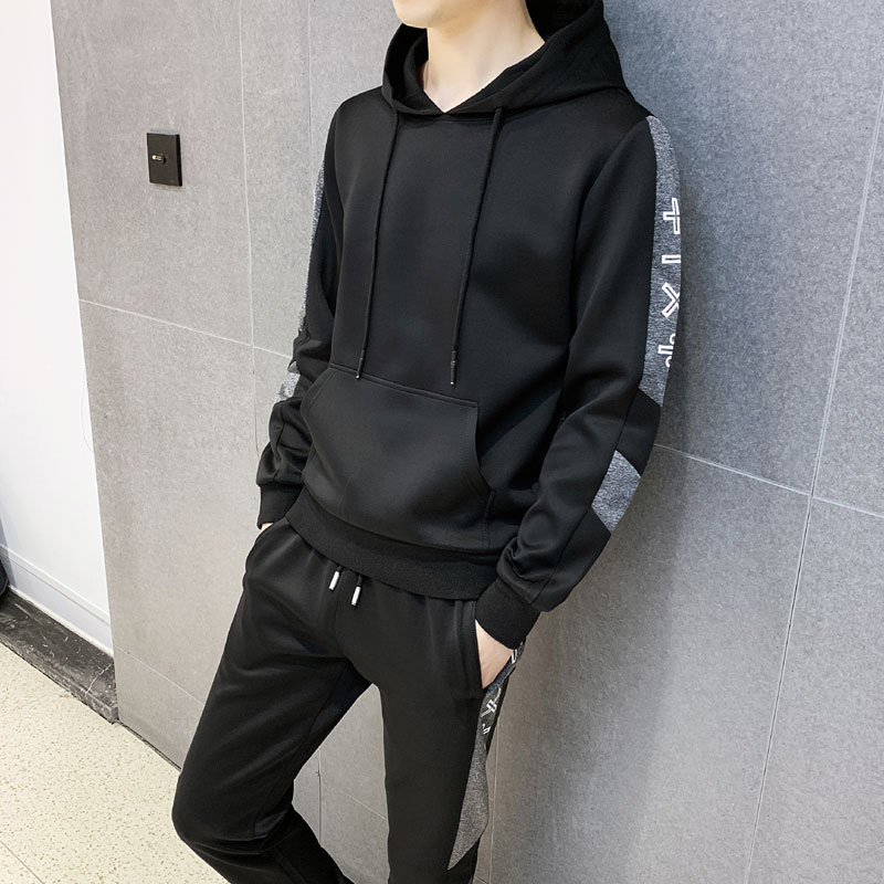 2019 Spring And Autumn New Style MEN'S Suit Handsome Teenager Hooded Pocket Hoodie Casual Two-Piece Set Korean-style Trend