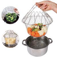 Panier à fruits pliable télescopique en acier inoxydable, filtre, égouttoir, ustensiles de cuisine 2