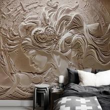 Горячая распродажа пользовательские росписи обои для стен 3D тиснением мода человеческих Искусство красоты спальня ТВ фоне украшения дома краска