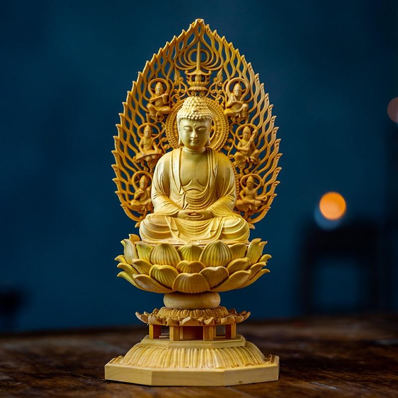CCZHIDAO Gautama Buddha Shakyamuni Sitting 18CM Solid Wood Japan Carving Buddha Statue God Hand Carved Feng Shui Statue for Home