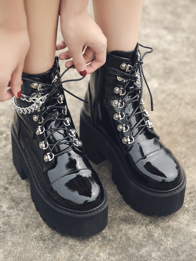 Gdgydh Black Boots Chain Heel Chunky Punk-Style Sexy Patent Leather Gothic Women Zipper